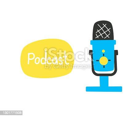 istock Studio microphone for recording audio with caption, podcast concept, sound recording, online radio. 1301771508