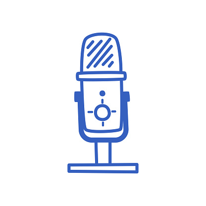 Studio microphone for recording sound in a hand-drawn style.