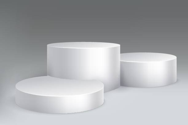 Studio podium. Marble stand pillar base, pedestal with cylinders. Empty white exposition showroom isolated mockup Studio podium. Marble stand pillar base, pedestal with cylinders. Empty white exposition showroom vector isolated mockup showroom stock illustrations