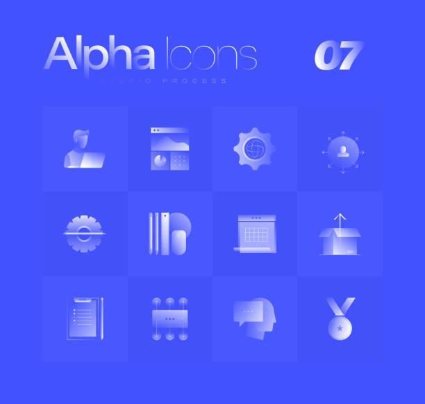 Studio Process Alpha Icons Set vector art illustration