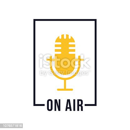 Studio table microphone with text on air. Webcast audio record emblem. Radio mic icon. Vector illustration