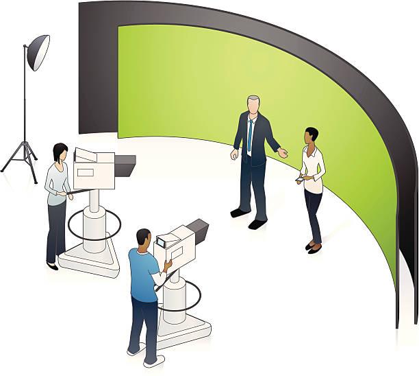 studio tv television illustration clip vector production illustrations camera graphic newsroom talk