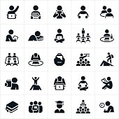 An icon set of students studying and learning. The icons also show students being taught by teachers. The icons show students in several different learning situations including the reading of books, study on computers, lectures and the classroom and test taking.