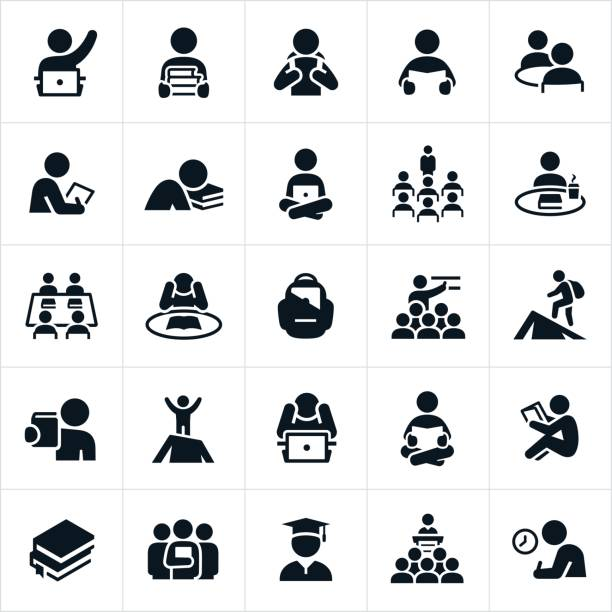 Study and Learning Icons An icon set of students studying and learning. The icons also show students being taught by teachers. The icons show students in several different learning situations including the reading of books, study on computers, lectures and the classroom and test taking. students stock illustrations