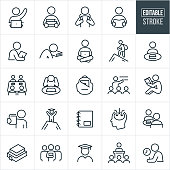 A set of study and learning icons that include editable strokes or outlines using the EPS vector file. The icons include a student raising hand while seated at laptop computer, student carrying books, student with backpack, student reading a book, student writing, student asleep on textbook, student sitting crosslegged while using a laptop, student climbing a mountain, student seated at table with book, study group with books at table, backpack with laptop, instructor giving lecture, student seated and looking at book, graduate at the summit of a mountain, notebook, stack of textbooks, faculty, graduate student and other related icons.