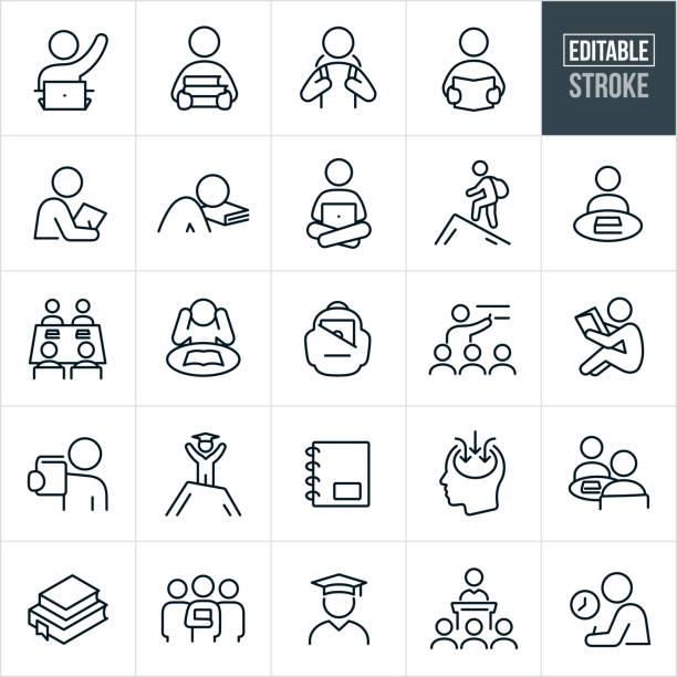 bildbanksillustrationer, clip art samt tecknat material och ikoner med studera och lära sig tunna linje ikoner-redigerbar stroke - klassrum