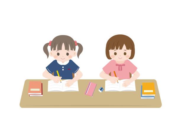 illustrazioni stock, clip art, cartoni animati e icone di tendenza di studiare i bambini - two students together asian