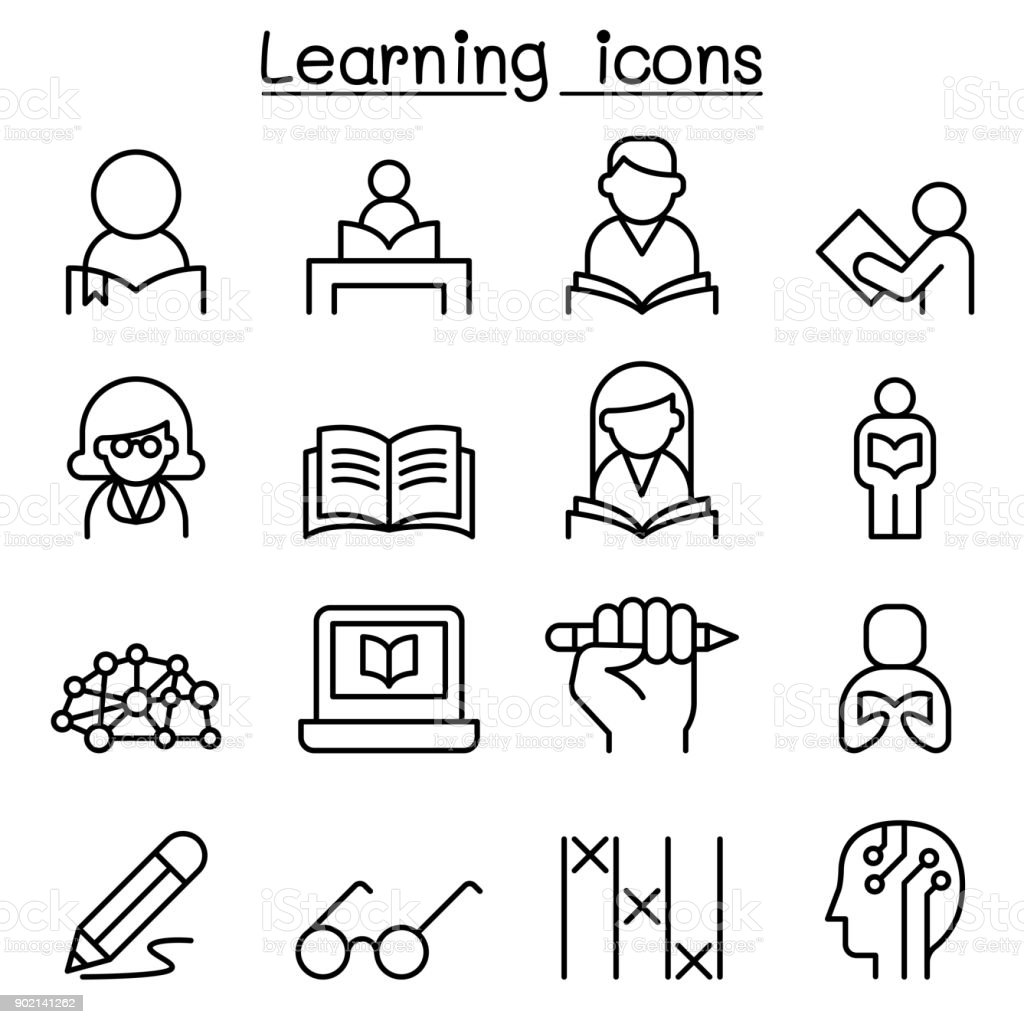 Study, Learning, Education icon set in thin line style vector art illustration
