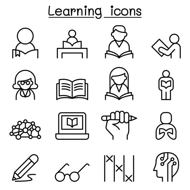 study, learning, education icon set in thin line style - homework stock illustrations
