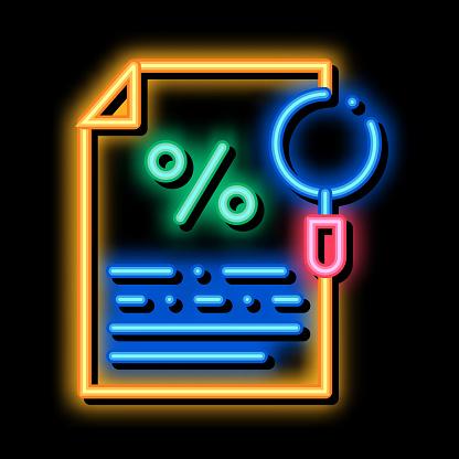 Study of Interest Related Documentation neon glow icon illustration