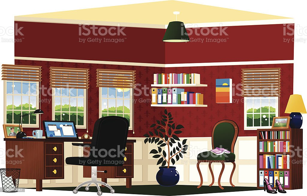 Study room and home office vector art illustration