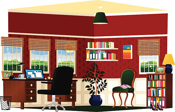 study room and home office - telecommuting stock illustrations, clip art, cartoons, & icons