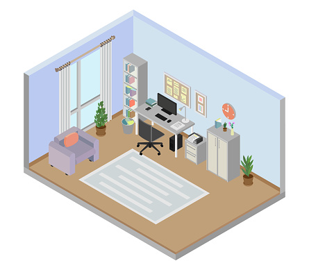Study room of a house isometric view