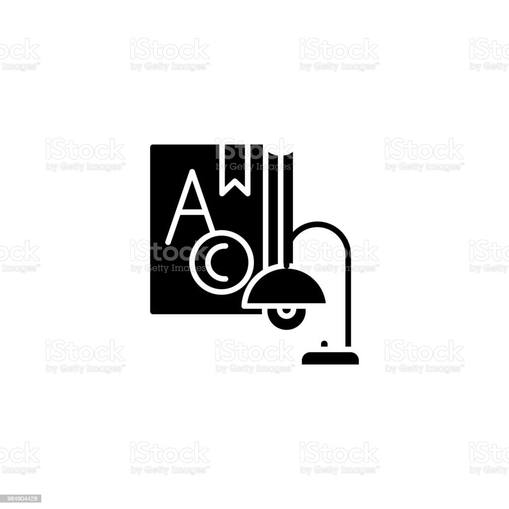 Studying black icon concept. Studying flat  vector symbol, sign, illustration. royalty-free studying black icon concept studying flat vector symbol sign illustration stock vector art & more images of analyzing