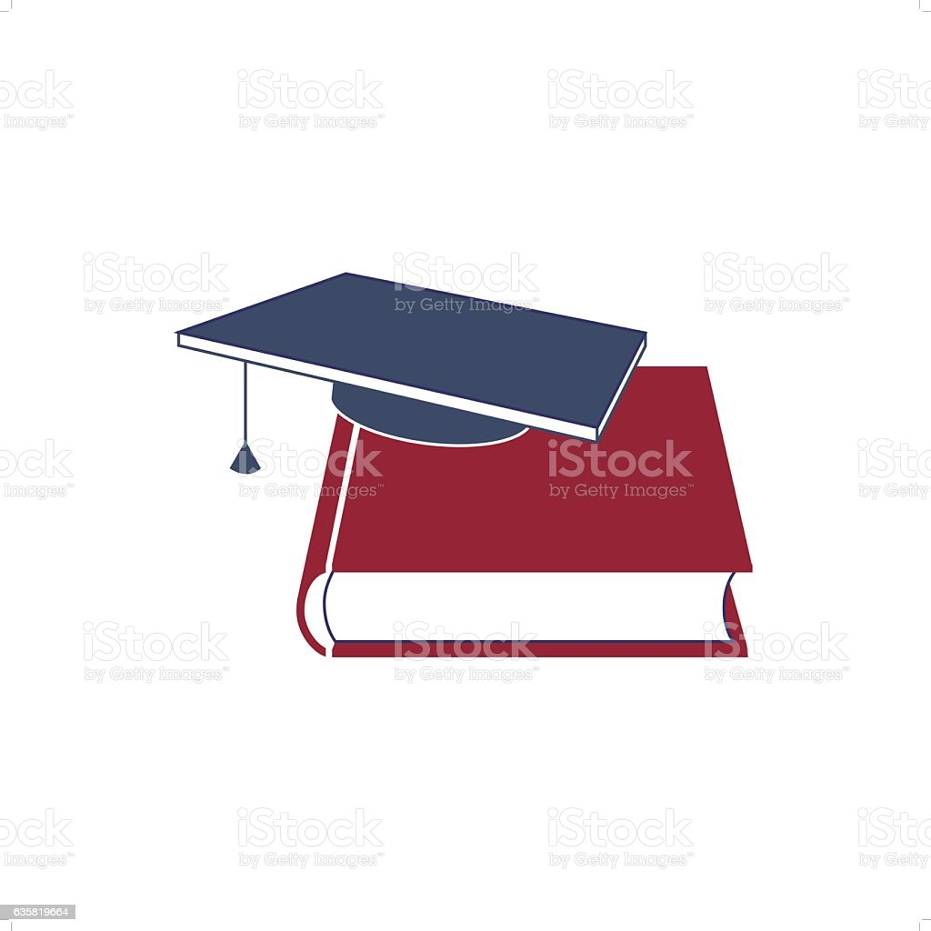 Studying Book And Hat vector art illustration