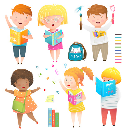 Studying, drawing, reading children activities clipart collection. Kids playing at school or kindergarten characters set.