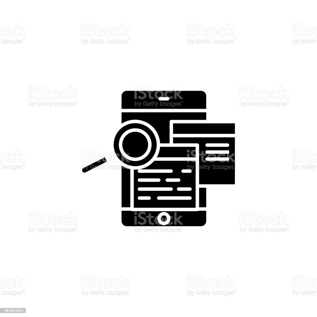 Studying feedbacks black icon concept. Studying feedbacks flat  vector symbol, sign, illustration. royalty-free studying feedbacks black icon concept studying feedbacks flat vector symbol sign illustration stock vector art & more images of advice