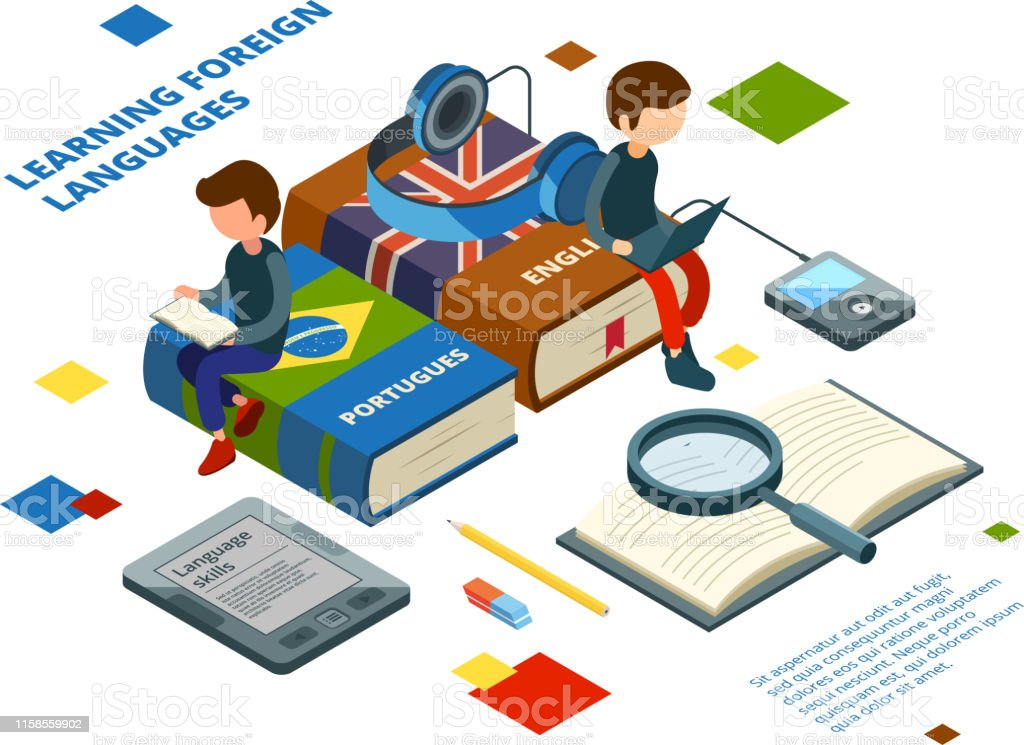 Studying Foreign Languages Books Vocabulary And Students