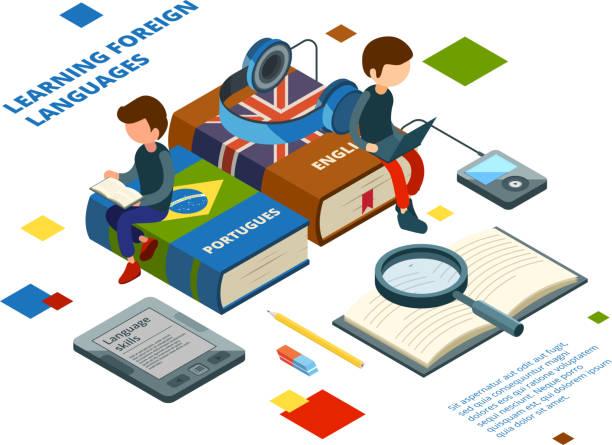 nauka języków obcych. książki słownictwo i uczniowie mówią na różnych językach online nauki wektorowej koncepcji izometrycznej - kultura portugalska stock illustrations