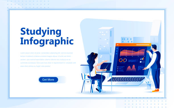 Studying infographic flat web page design template of homepage or header vector art illustration