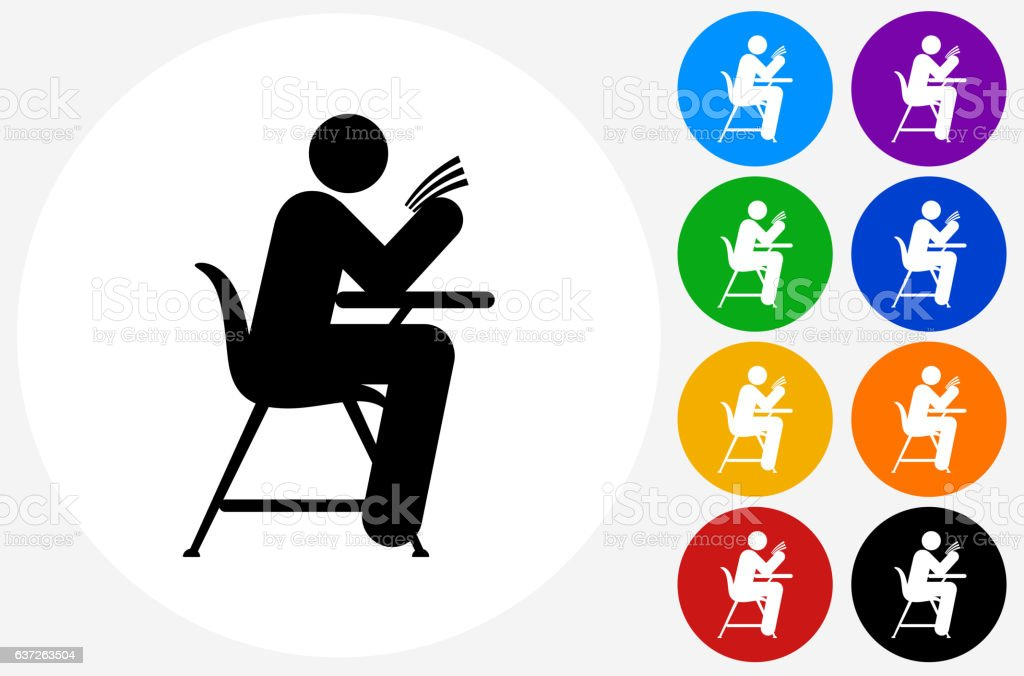 Studying On School Desk Icon On Flat Color Circle Buttons Stock
