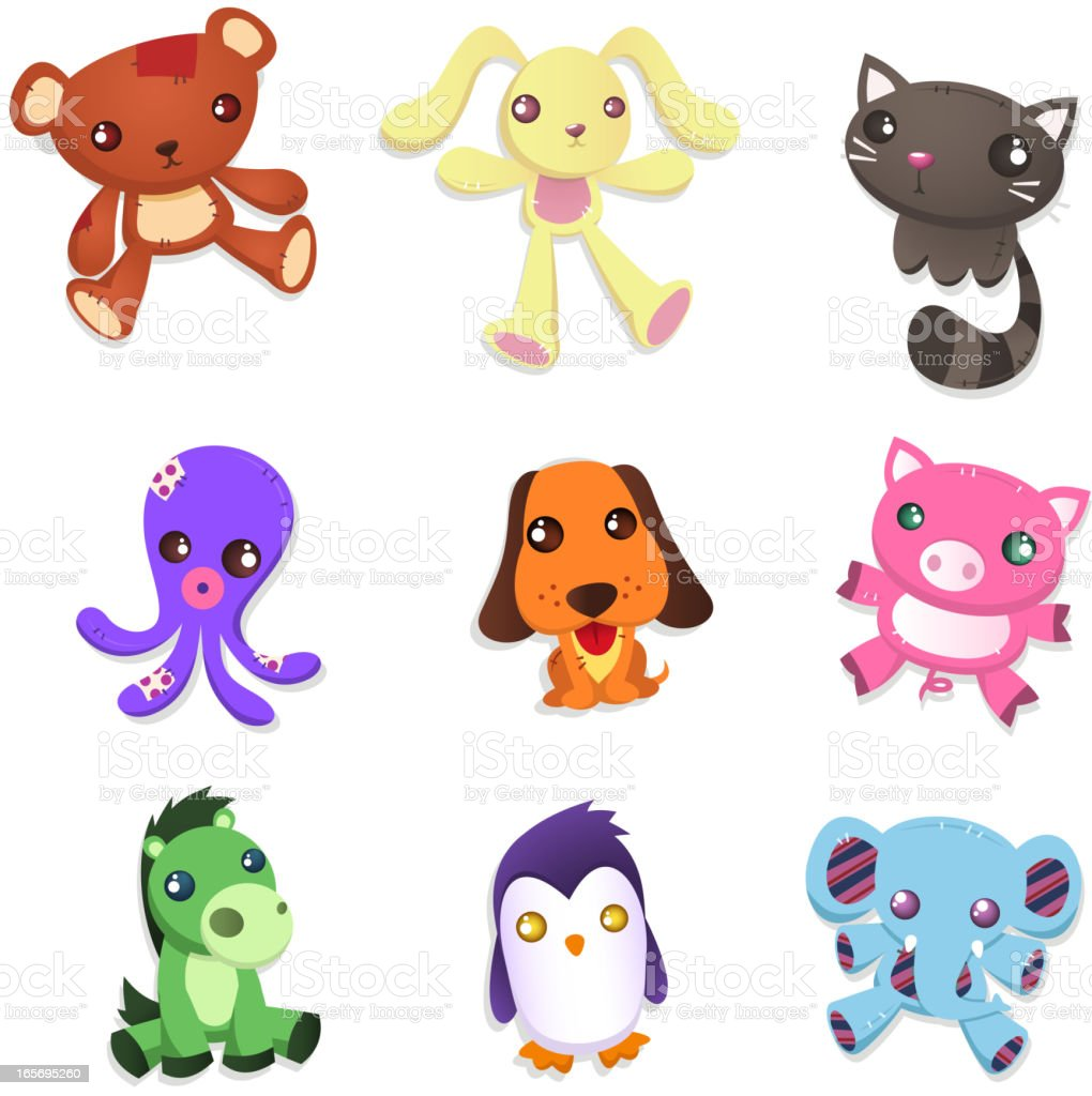 Stuffed animal collection teddy bear rabbit cat octopus dog pig royalty-free stock vector art