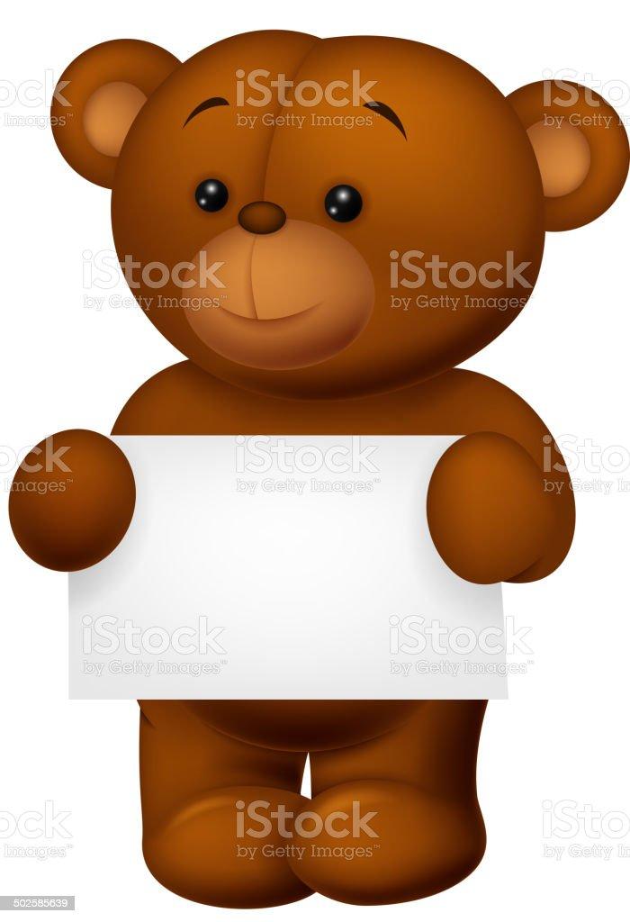 Stuffed bear holding blank paper vector art illustration