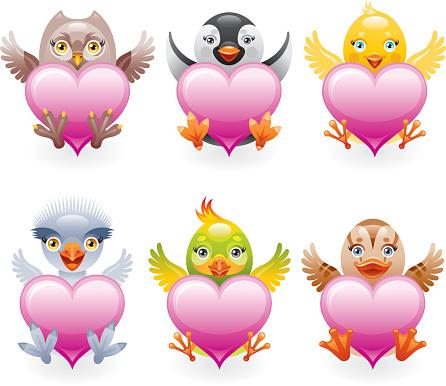 Stuffed birds icon set