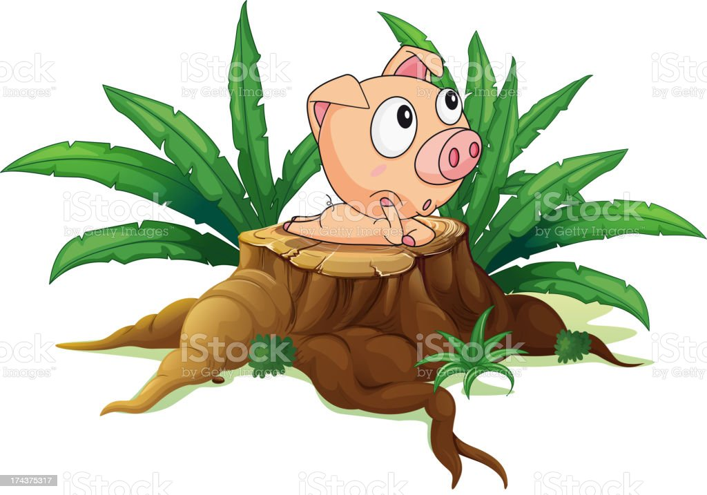 Stump with a fat pig royalty-free stump with a fat pig stock vector art & more images of animal