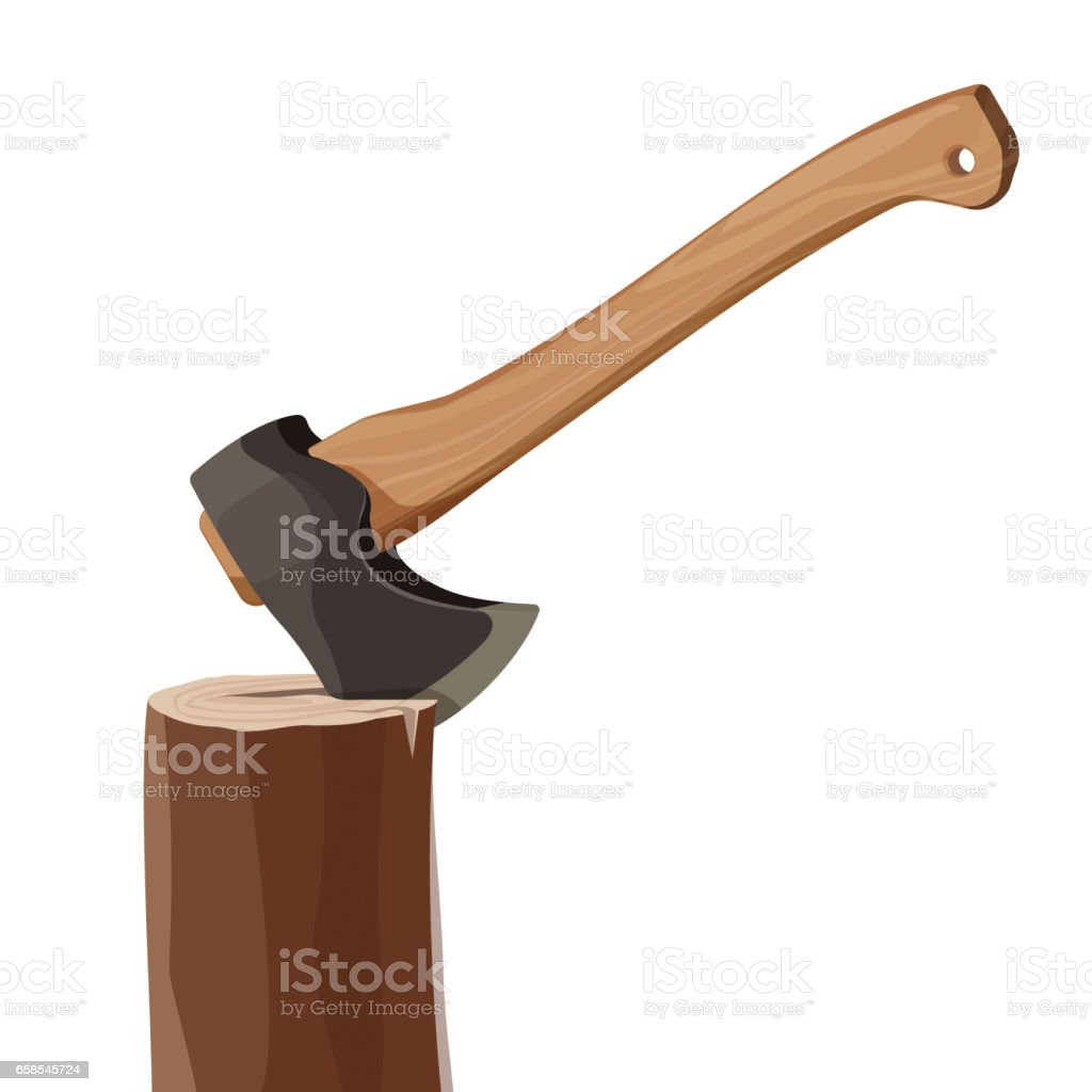 Stump with axe isolated on white background. Wooden ax element vector art illustration