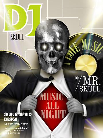 stunning crystal skull businessman on magazine cover
