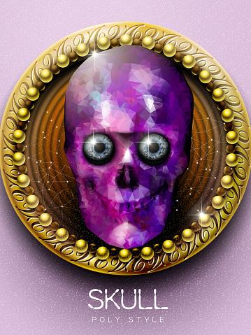 stunning purple crystal skull cover design