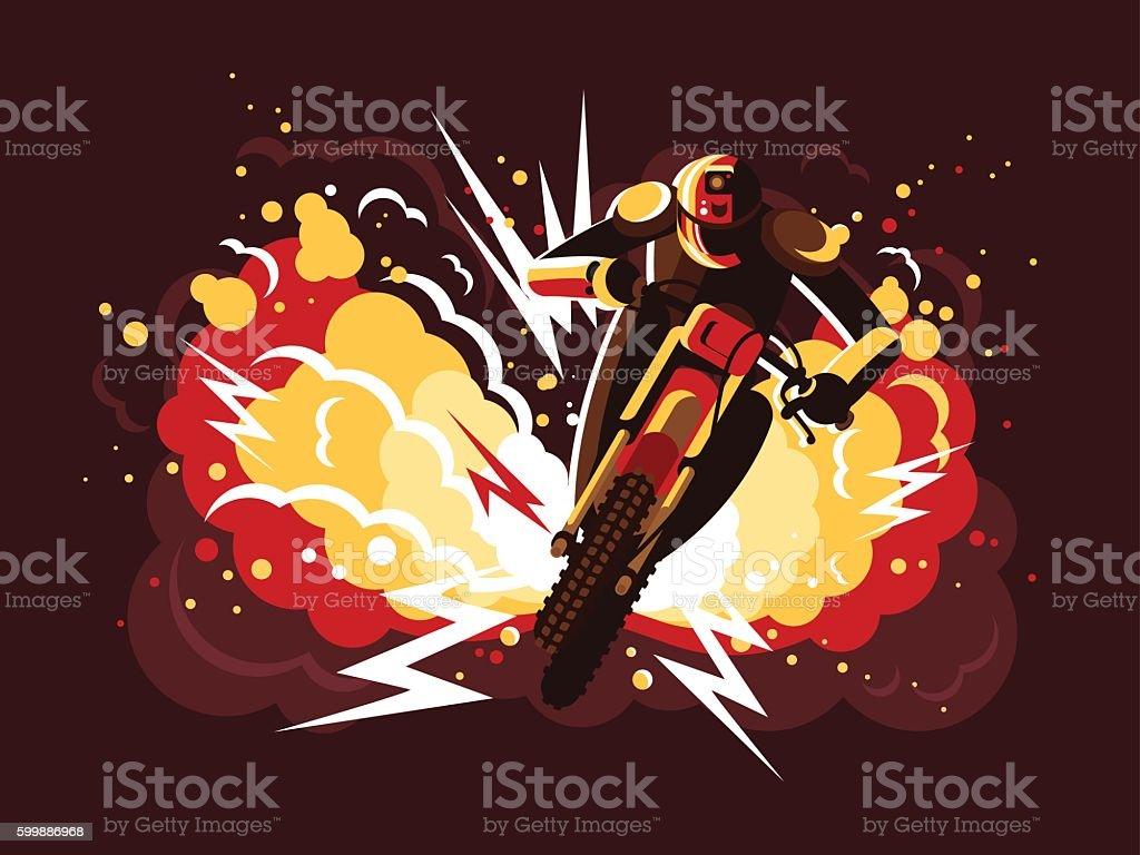 Stuntman on motorcycle vector art illustration