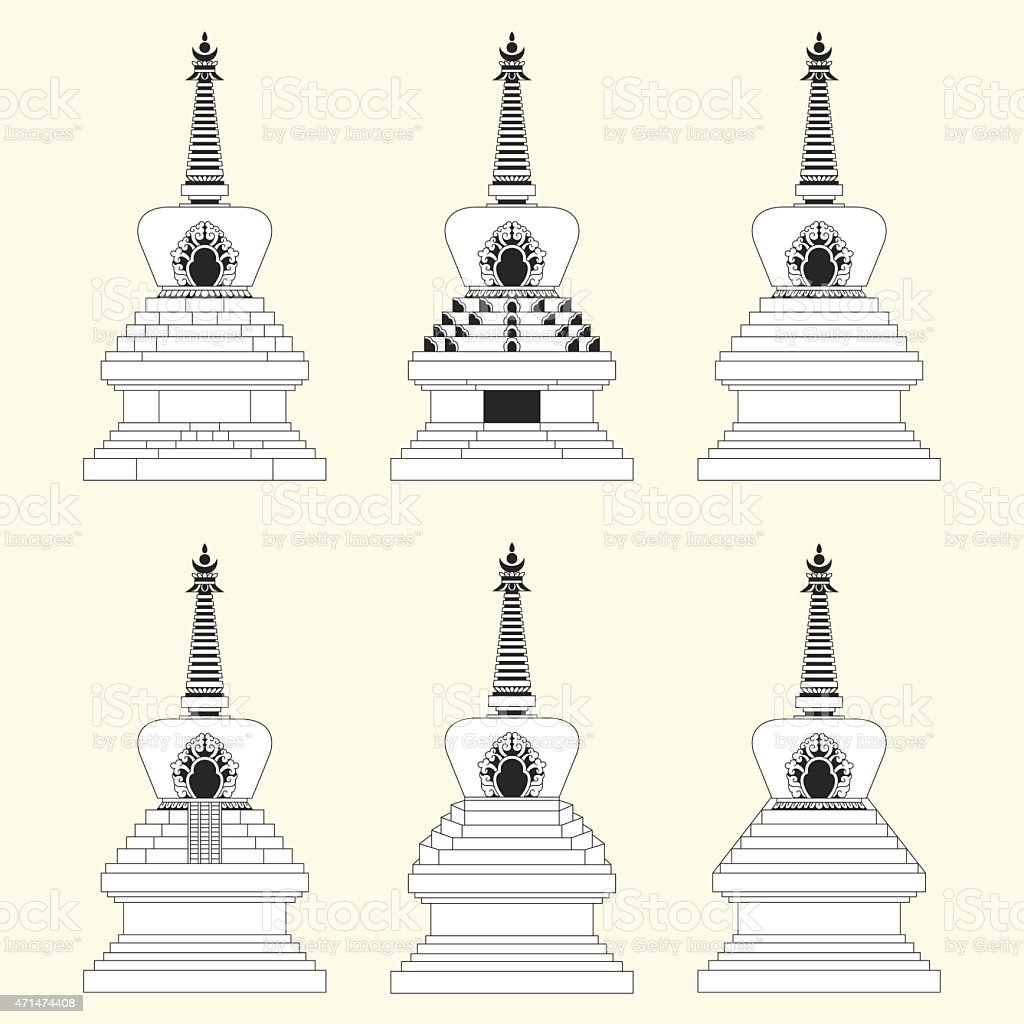 Stupa Collection vector art illustration