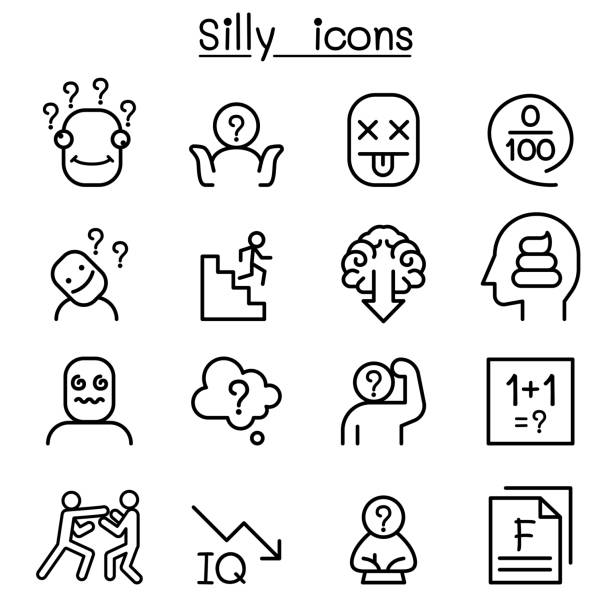 Stupid, foolish, Silly icon set in thin line style Stupid, foolish, Silly icon set in thin line style careless stock illustrations