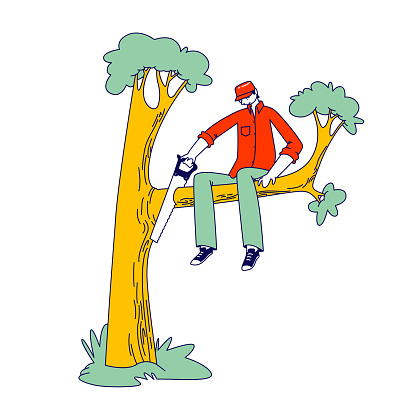 Stupid Male Character Sawing Off the Tree Branch He is Sitting on. Man Idiot or Fool Harm to himself, Making Mistake