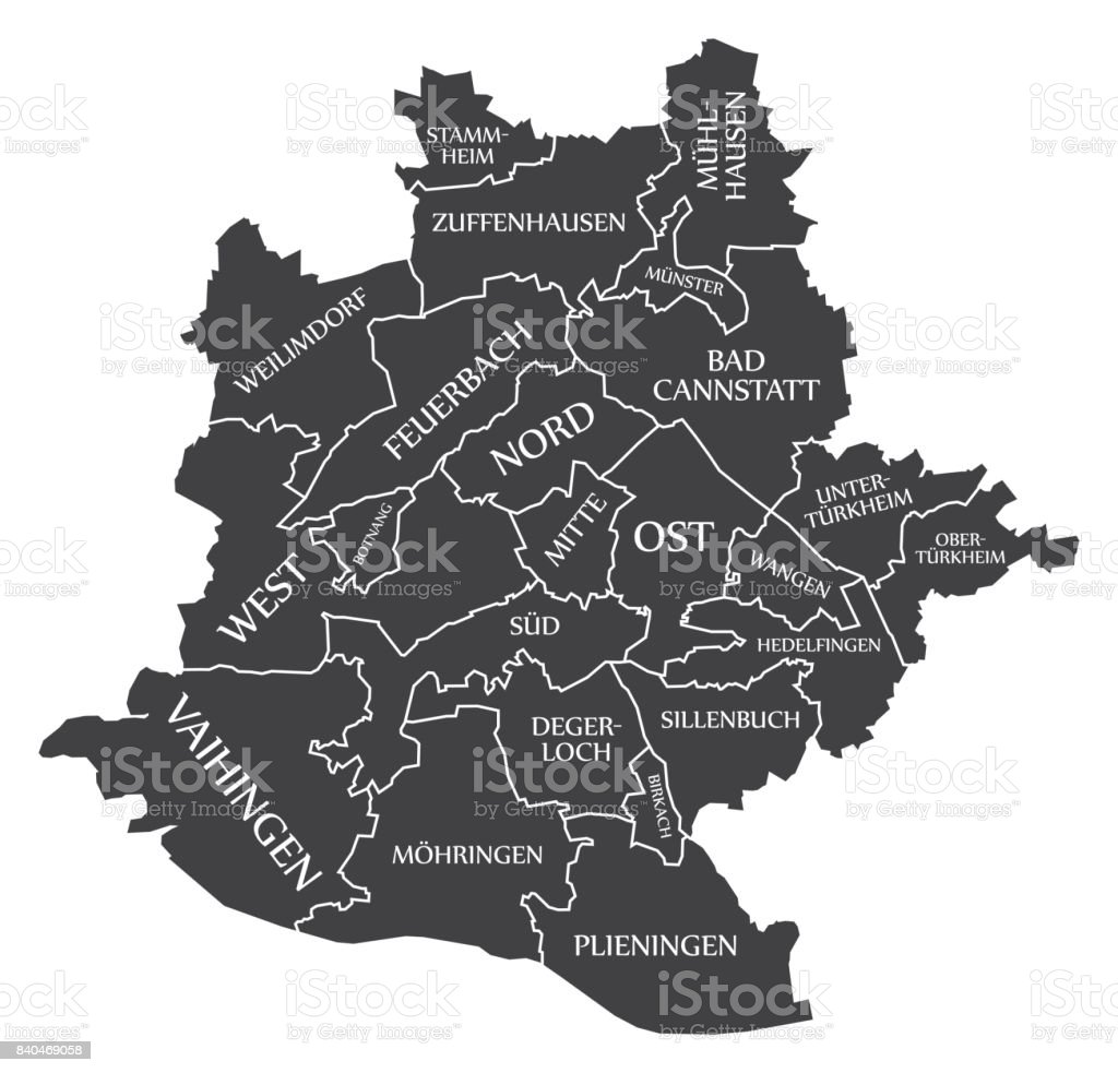 Stuttgart city map Germany DE labelled black illustration royalty-free stuttgart city map germany de labelled black illustration stock vector art & more images of black color