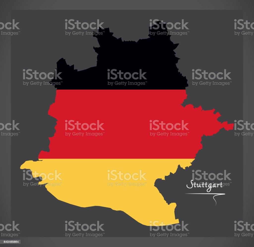 Stuttgart Map Of Germany.Stuttgart City Map With German National Flag Illustration Stock