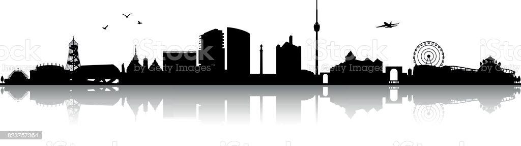 Stuttgart Skyline Silhouette schwarz – Vektorgrafik