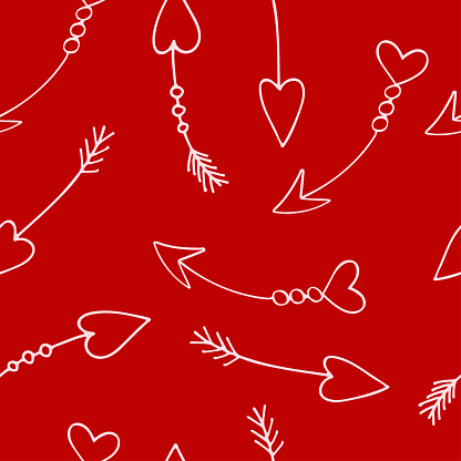St.Valentines Day seamless pattern  with cupid arrows on red background vector for cards, banners, wrapping paper, posters, scrapbooking, pillow, cups and fabric design.