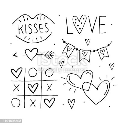 St.Valentine`s Day set of elements, clipart, stickers, coloring page. Love lettering, tic tac toe, heart arrow, flags, kiss and hearts. Hand drawn vectors.
