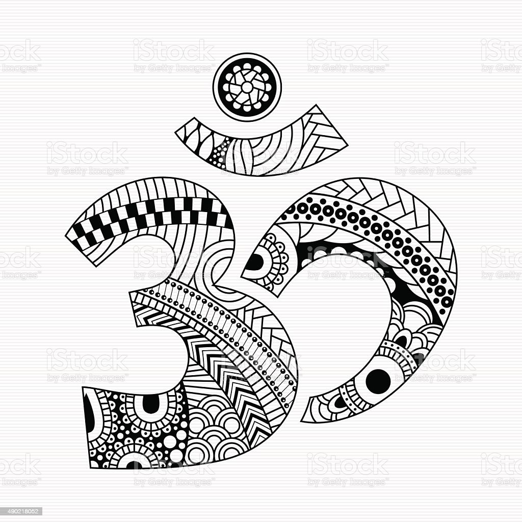 style Aum symbol vector art illustration