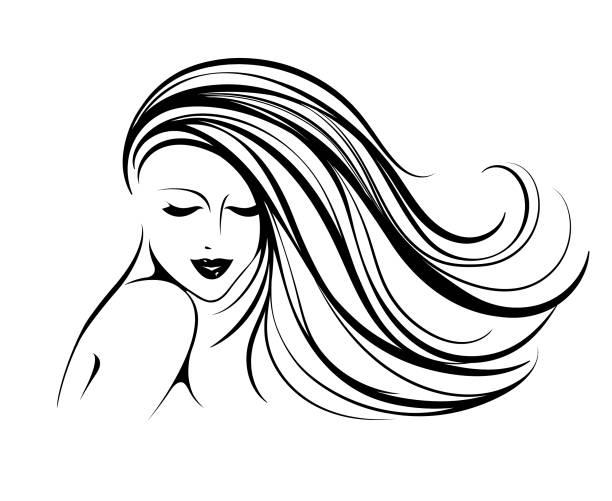 stockillustraties, clipart, cartoons en iconen met stijl, schoonheid en haar salon vectorillustratie - golvend haar