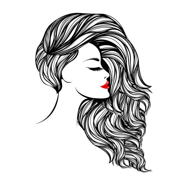 ilustraciones, imágenes clip art, dibujos animados e iconos de stock de ilustración vectorial de estilo, belleza y peluquería. hermosa mujer con elegante maquillaje y peinado, con lápiz labial rojo en sus labios. - cabello largo