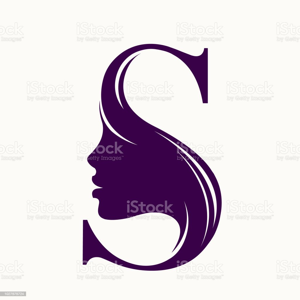 Style, beauty and hair salon vector logo with woman face and letter S vector art illustration