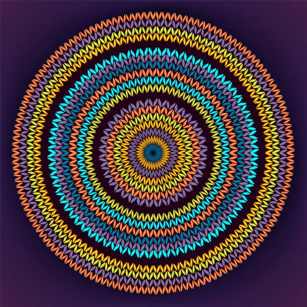 Stil Kreis einfache Farbe Nadelarbeit Hintergrund, ornamentale gelb Orange blau Runde gestrickt Muster – Vektorgrafik