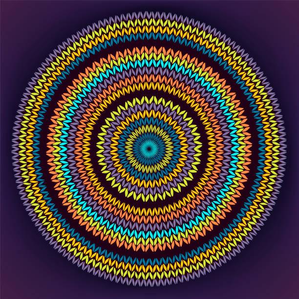 Stil Kreis einfache Farbe Vektor Nadelarbeit Hintergrund, ornamentale gelb Orange blau Runde gestrickte Muster – Vektorgrafik