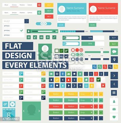 istock Style flat ui kit design elements for web design 478344882