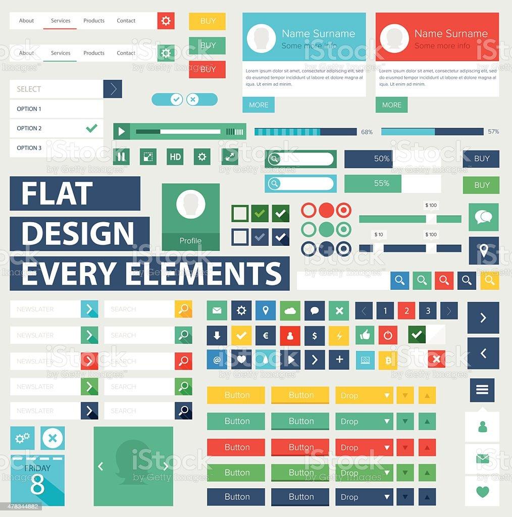 Style flat ui kit design elements for web design vector art illustration