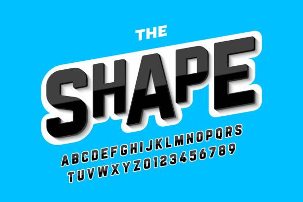 3D style font design vector art illustration
